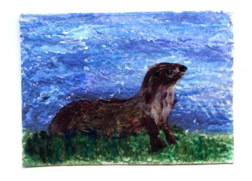 Mixed media miniature painting with an otter on the riverbank