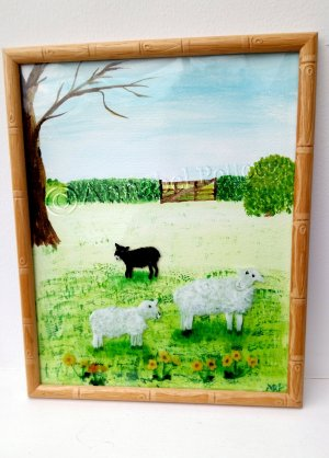 Original painting of 2 white sheep and a black lamb in a field