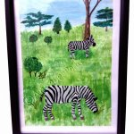 A mixed medai painting with two zebras painted in glass paint over an acrylic background of grass and trees