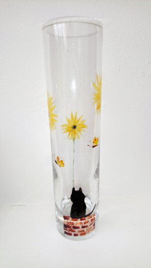 Bud vase with a black cat, sunflowers and butterflies