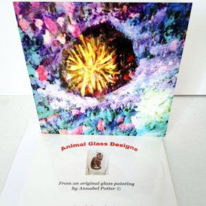 Greeting card with an abstract coral reef painting