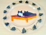 Cat pet portrait glass painting on a glass plate