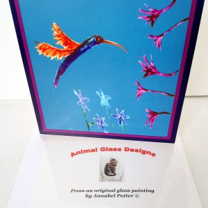 Hummingbird card with a hummingbird and flowers illustration
