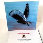 Greeting card with an owl flying at sunrise
