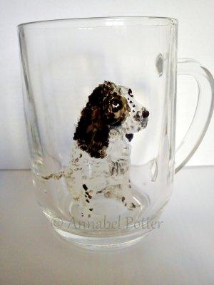 Springer pet portrait on a wine glass