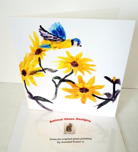 Square greeting card with sunflowers and a Blue Tit illustration