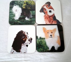 set of four dog coasters with an Old English Sheepdog, Terrier, Springer Spaniel, Corgi