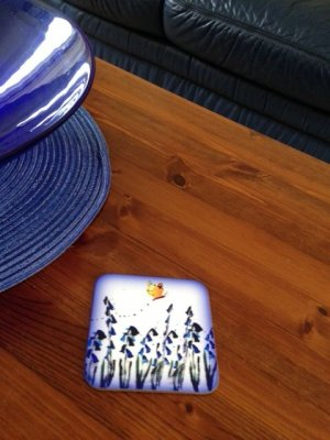 Bluebell coaster on a table