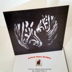 Wildlife card with black and white zebras illustration