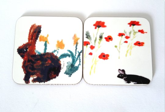Floral rabbit coasters with rabbits and Daffodils or Poppies