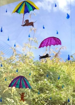 Cats and Dogs Painting with raindrops and umbrellas, in a Window