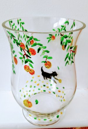 Cat glass vase hand painted with a black cat under an apple tree