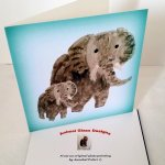 Elephant card with a grey elephant and a baby elephant