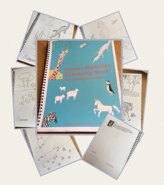 Animal Alphabet colouring book with inside page examples