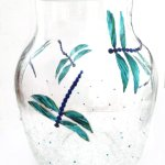 Dragonfly vase hand painted with dragonflies and a crackle effect