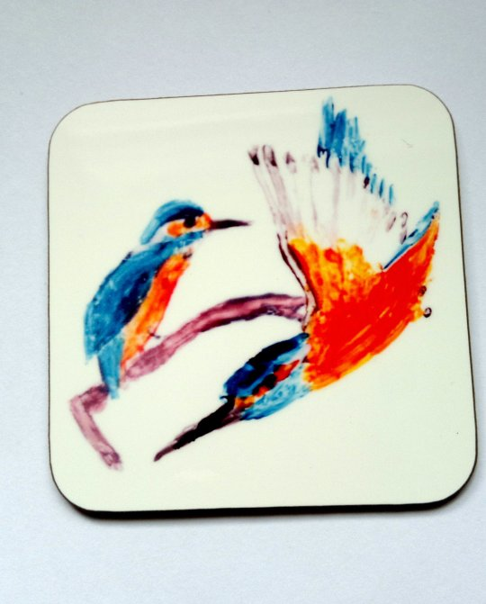 Coaster with two kingfishers, one perched and one flying