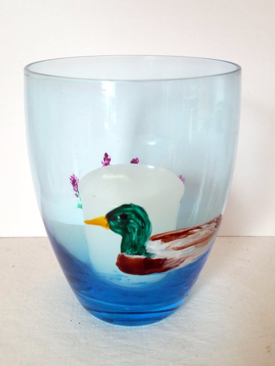 Blue candle holder glass painting with a duck and pink flowers