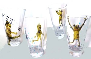 Frog sporty drinkware hand painted with frogs playing different sports