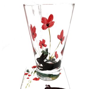 Hand painted glass and coaster gift set with red poppies and black rabbits