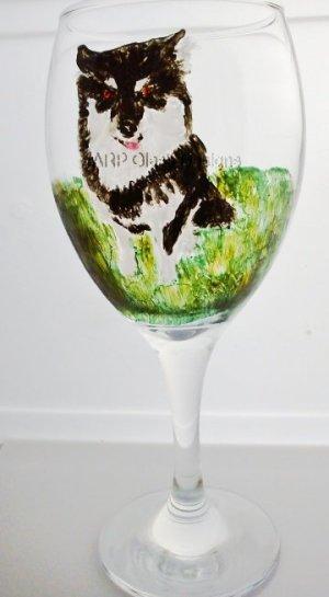 Pet Portrait commission on a wine glass