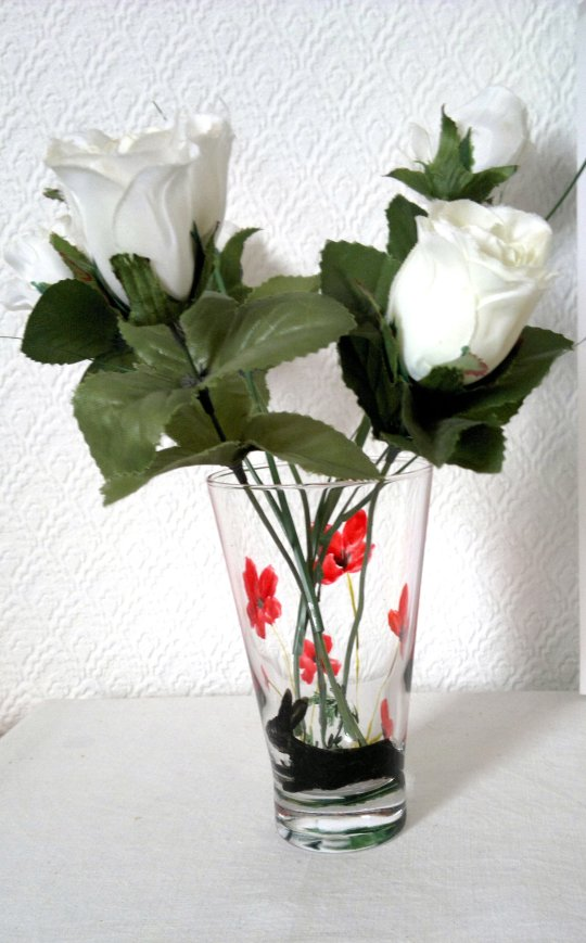 A poppy small vase hand painted with a hare and red poppies