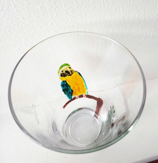 Parrot glass painting view from above