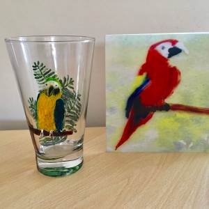 Macaw parrot card photographed with an original parrot glass paintnig