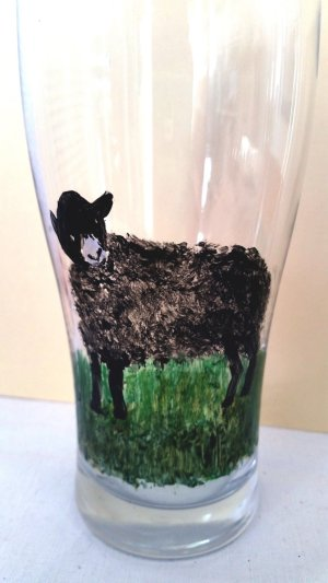 Black Sheep glass painting on a pint glass