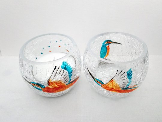 Kingfisher Glass Candle Holders, a pair