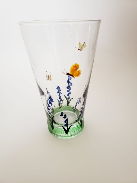Hand painted glass with bluebells and butterflies