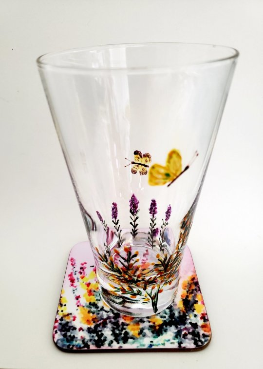 floral gift set of a hand painted glass and coaster with butterflies, heather and gorse