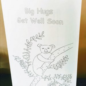 Big Hugs Get Well Soon card with a Koala Bear in a tree