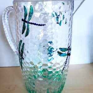 Picnic jug with lid and original dragonfly glass painting