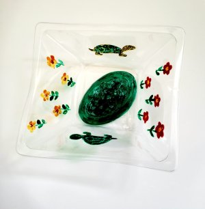 Decorative dish, recycled plastic, hand painted with flowers and two tortoise