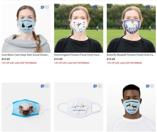Face masks with animals and nature, cute and funny