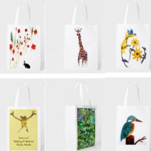 Folding shopping bags with nature and animal art