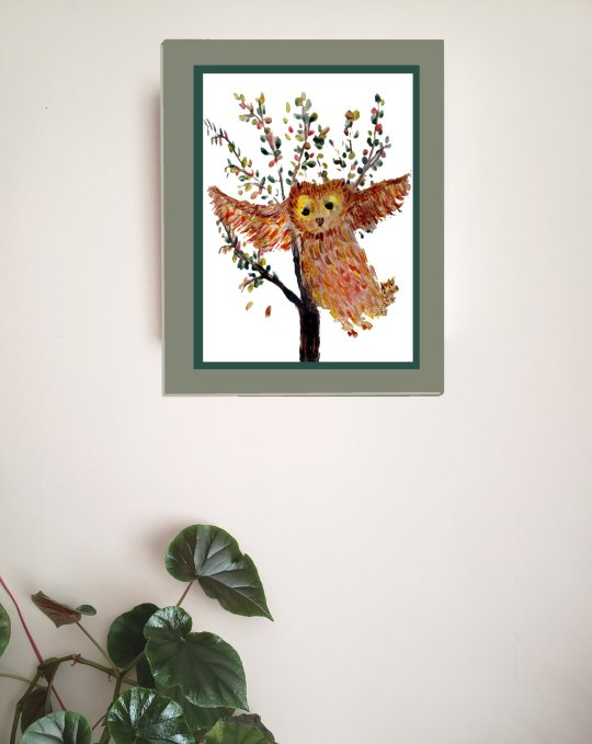 Owl art print with a colourful owl flying in front of an Autumn tree