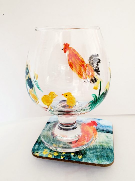 Hand painted wine glass and coaster set with chickens and yellow Spring flowers
