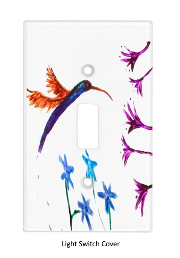 Light switch cover with a hummingbird and flowers