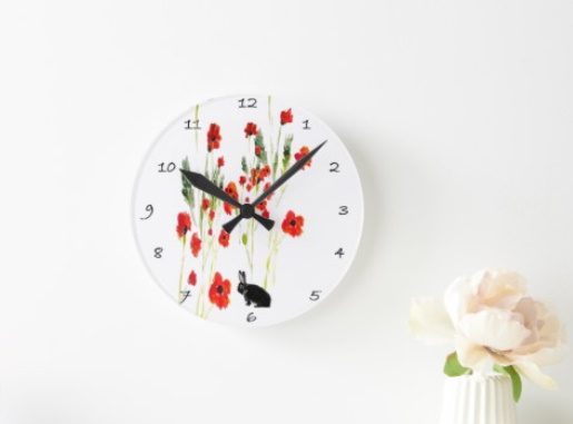 Clock with red poppies and a bunny rabbit