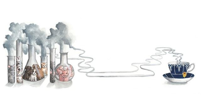 Kuvituskuvassa hiiriä, kaneja, koiria, kissoja, rottia ja sikoja on koeputkissa. Kuvitus: Yasmine Pekonen.