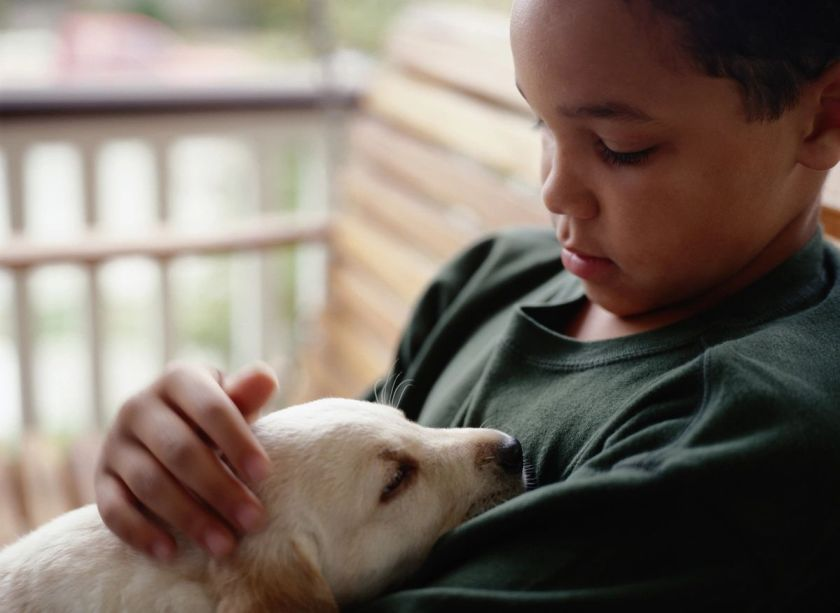 Child with pet puppy