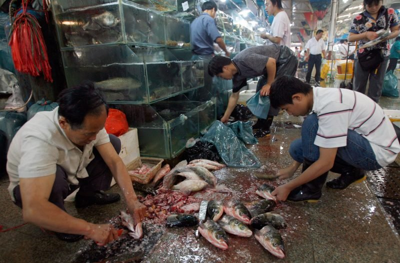 Asian wet market showing live seafood.