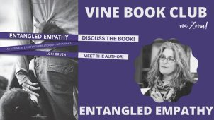 Poster for the Vine book Club featuring a picture of author Lori Guren, a white woman with grey hair