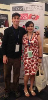 "Alison and Keegun Kuhn, filmmaker of ""Cowspiracy"", at the AR Conference."