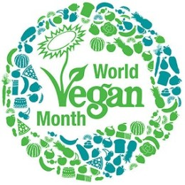 """The words """"World Vegan Month"""" surrounded by images of food into a circular shape"""