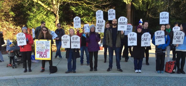 Last weekend's rally at the Vancouver Aquarium.