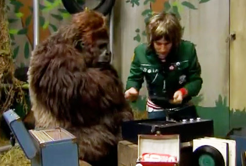 Animatronic Gorilla Jambo in The Mighty Boosh seen here with Noel Fielding