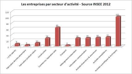 Les entreprises par secteur d'activité - Source INSEE 2012