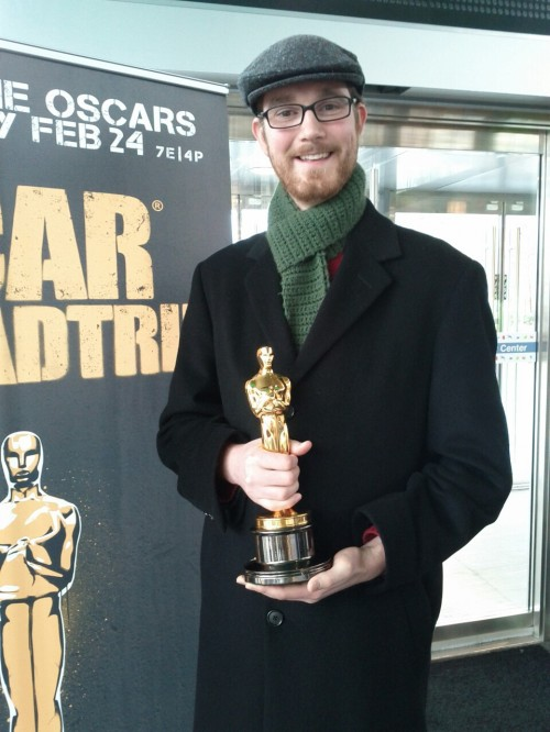Yours truly with an Academy Award. I was outshone by the woman who showed up wearing a full gown.